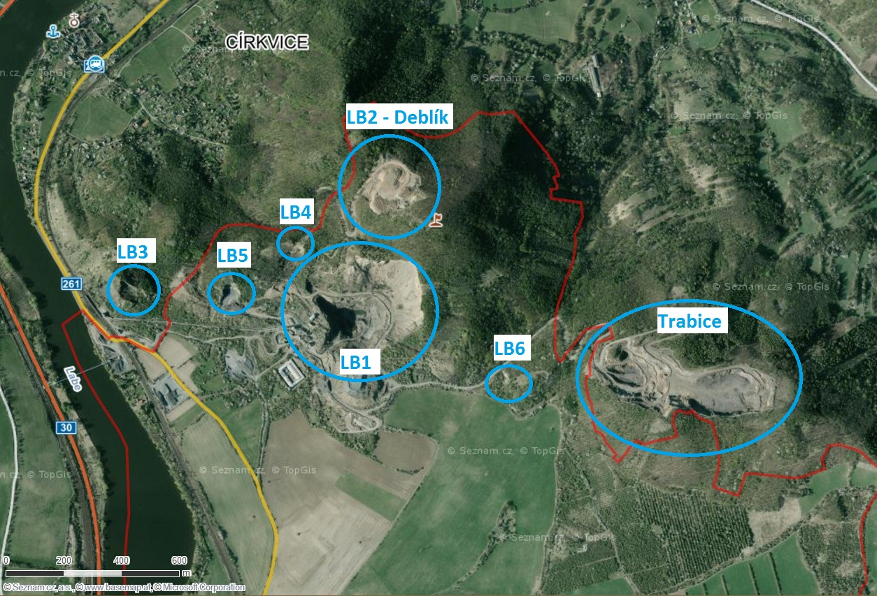 Výsledek obrázku pro mapa kamenolomů v českém středohoří